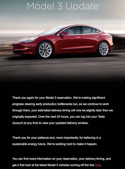 Mail de Tesla indicando la actualización de entrega del Tesla Model 3