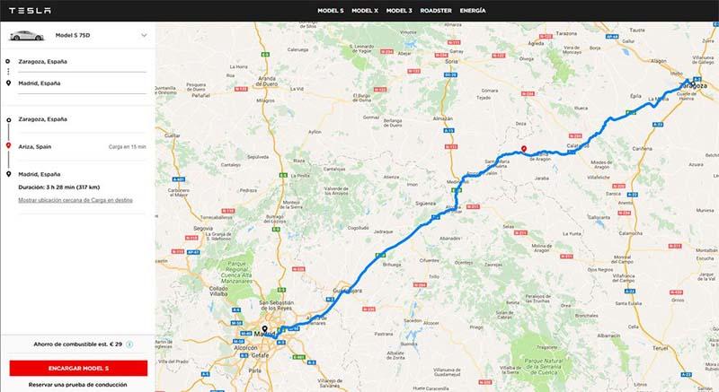 Aplicación Web de Tesla para calcular la ruta de origen a destino