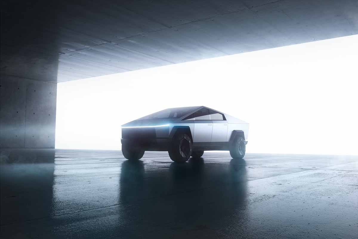 Foto bonita del Tesla CyberTruck