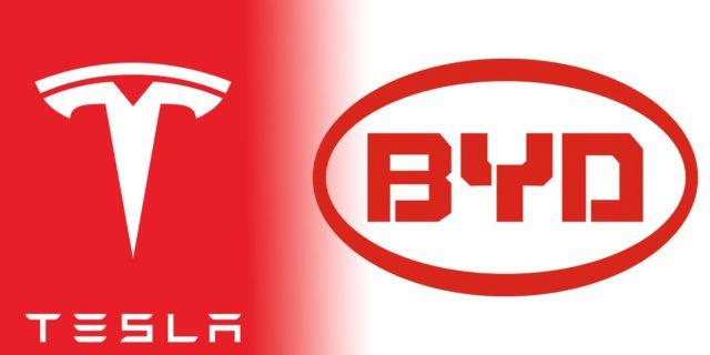 Logo de Tesla y BYD