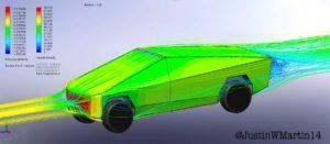 Prueba aerodinamica Tesla CyberTruck - lateral