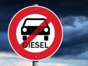 Señal de prohibición de coches diesel