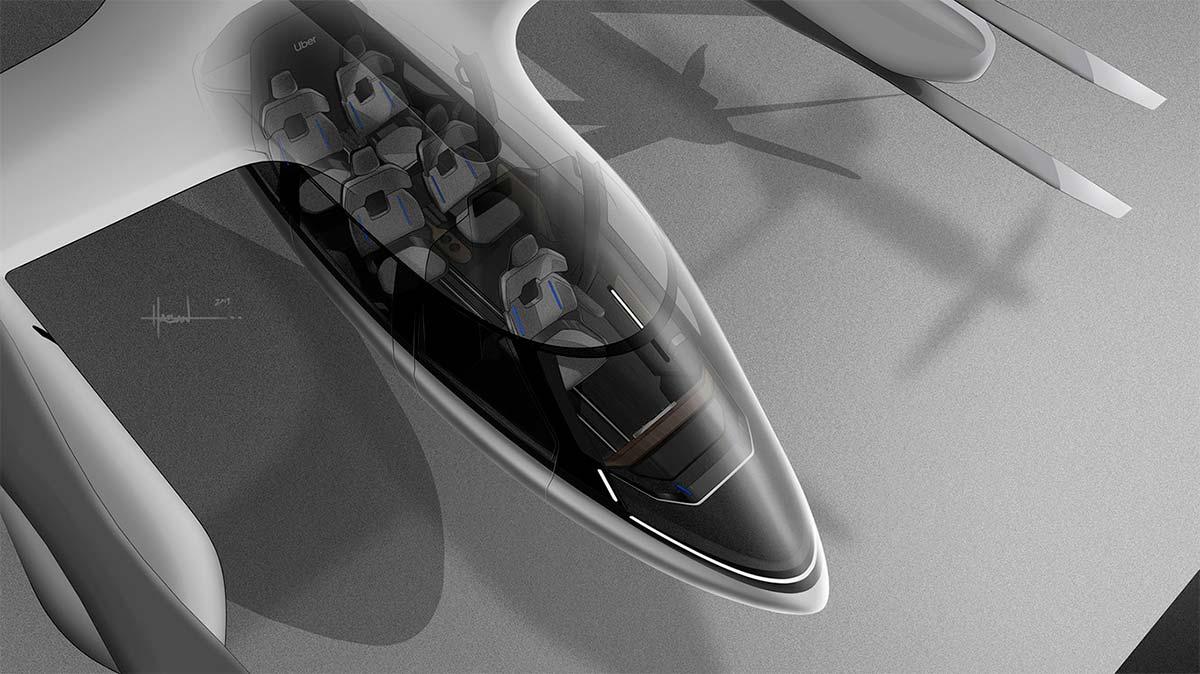 Interior del taxi volador Hyundai PAV S-A1 de Uber Elevate