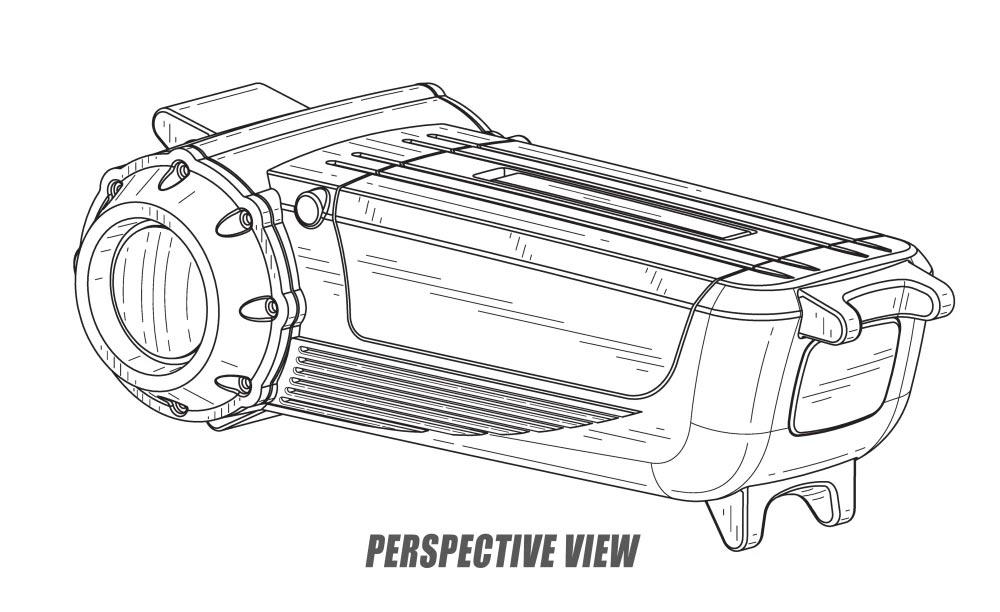 Boceto del conjunto de batería y motor eléctrico de la scooter eléctrica de Harley Davidson
