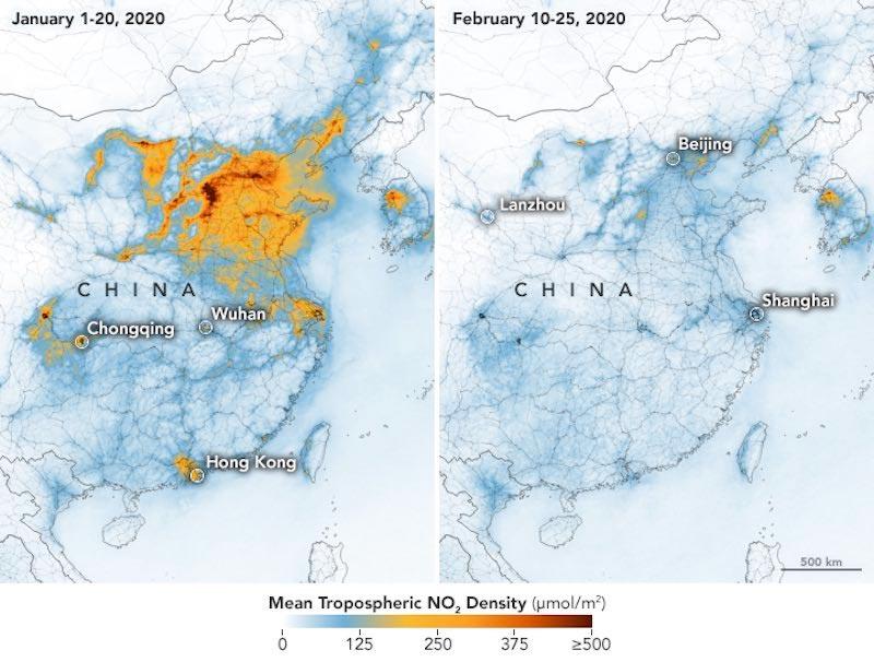 Comparativa de la contaminación en unos pocos días en China por el Coronavirus