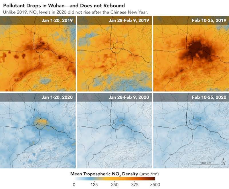 Foto que muestra la contaminación en China en 2019 y en 2020