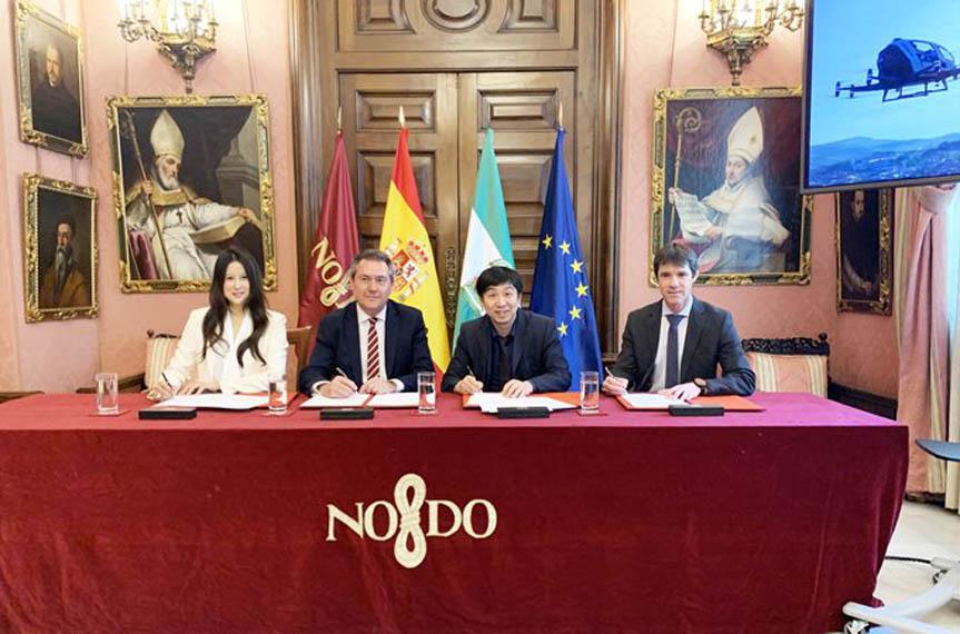 firma-contrato-ayuntamiento-Sevilla-EHang-avion-no-tripulado