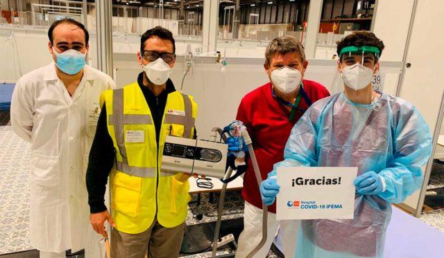 Foto de los respiradores de Tesla en el IFEMA, Madrid