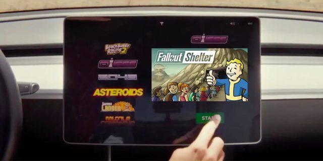 Foto del videojuego Fallout Shelter en un Tesla