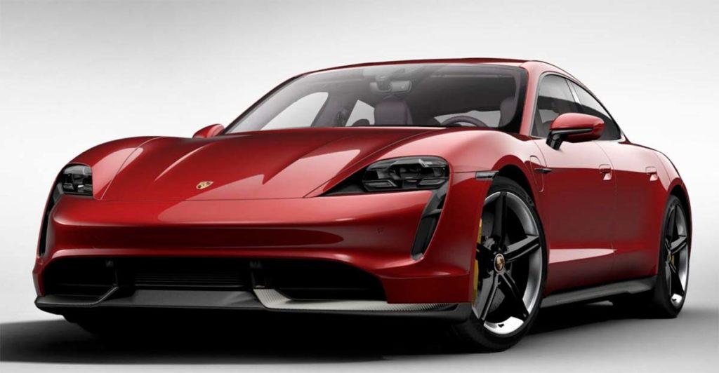Porsche Taycan en Rojo Carmin