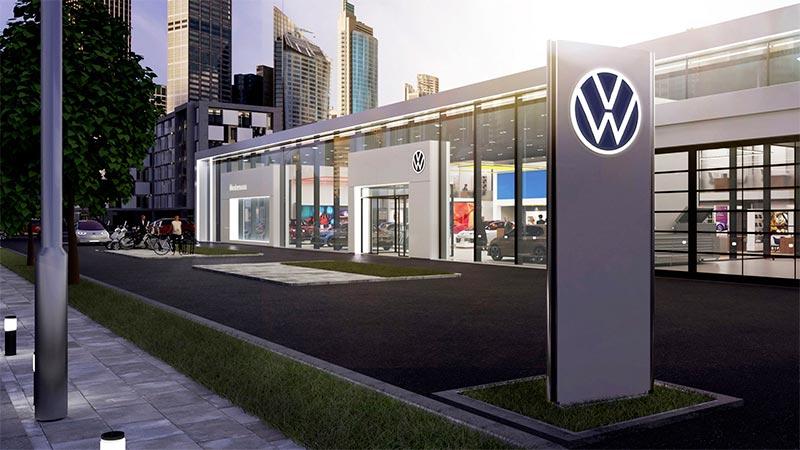 Simulación en 3D de los nuevos concesionarios de Volkswagen con el nuevo logo