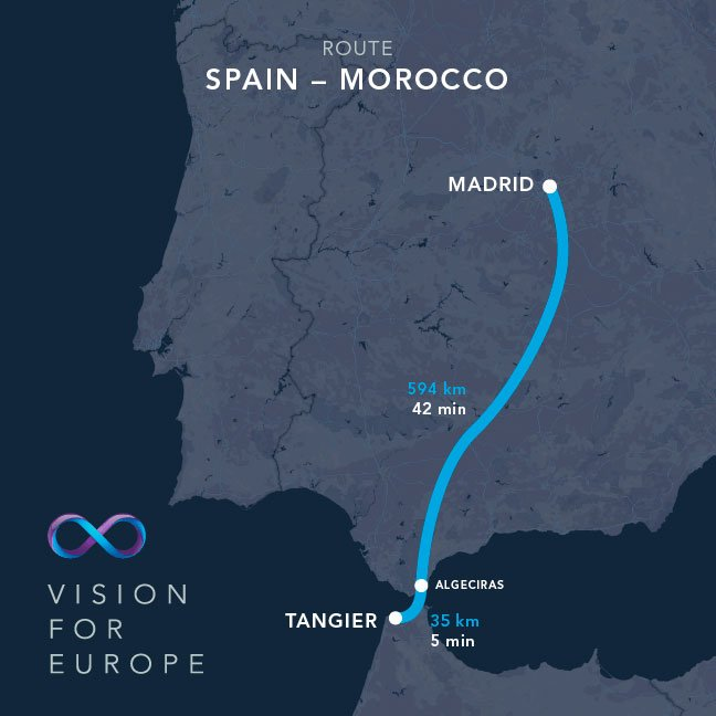 Hyperloop One trayecto Madrid-Tánger
