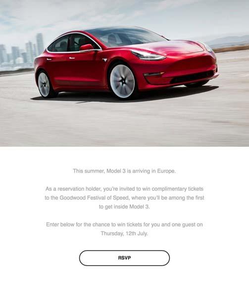 Invitación de Tesla para ver el Tesla Model 3
