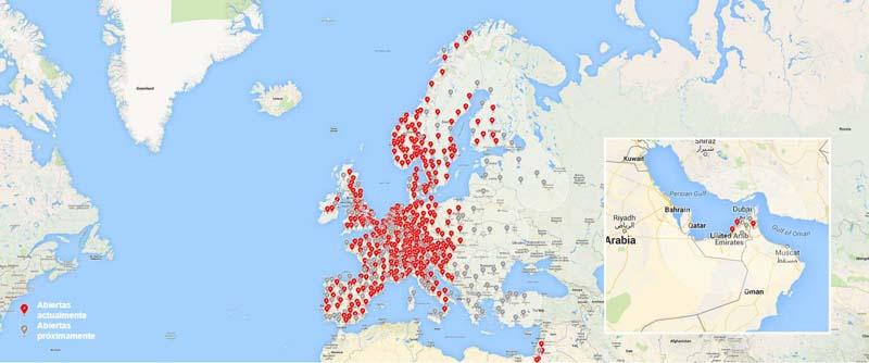 Mapa de Europa con los Superchargers activos y previstos