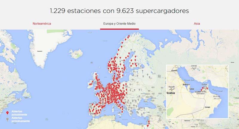 Mapa de puntos de carga Superchargers de Tesla en Europa