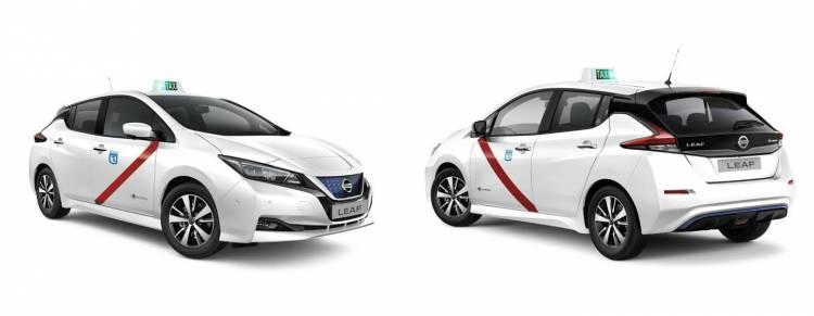 Imagen del Nissan Leaf con los colores de los taxis de Madrid