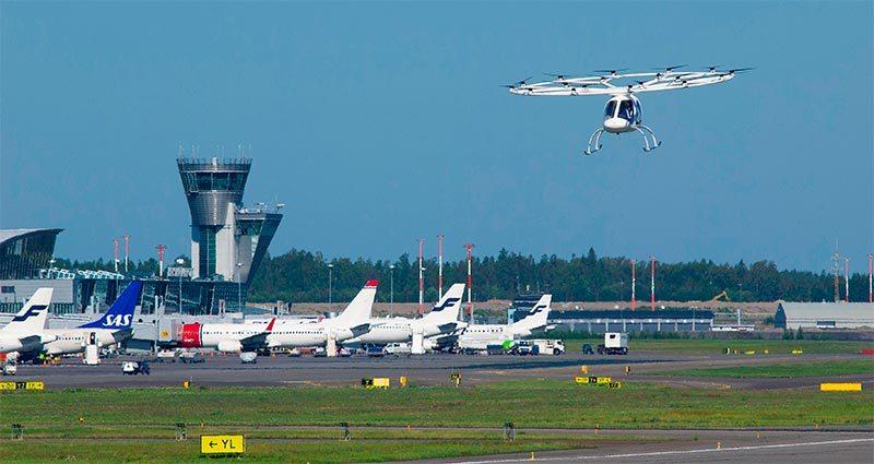 Foto de un taxi aéreo en un aeropuerto
